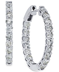 Diamond Hoop Earrings in 14k White Gold (4 ct. t.w.)
