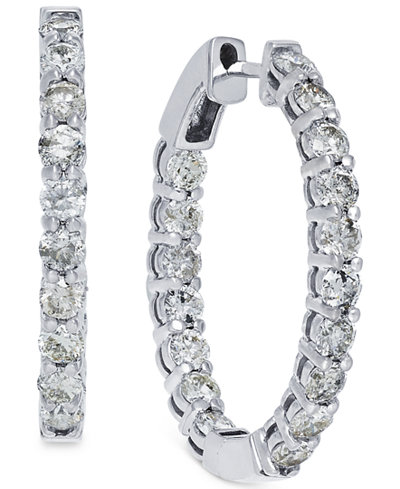Diamond Hoop Earrings in 14k White Gold (4 ct. t.w.)