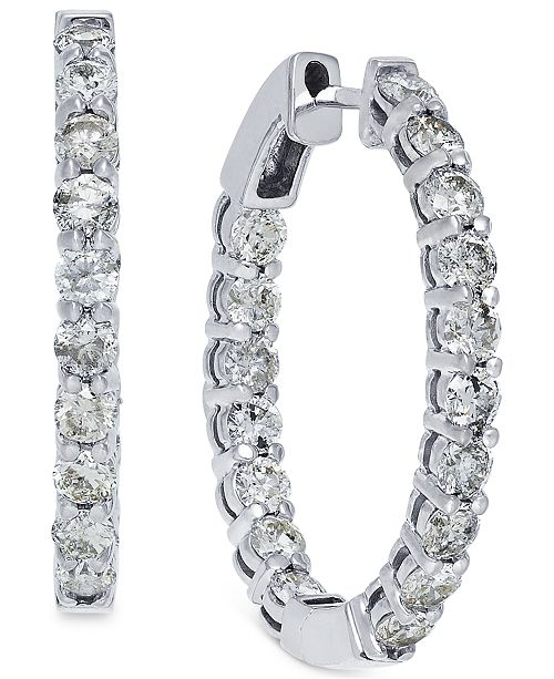 Macy's Diamond Hoop Earrings in 14k White Gold (4 ct. t.w.)