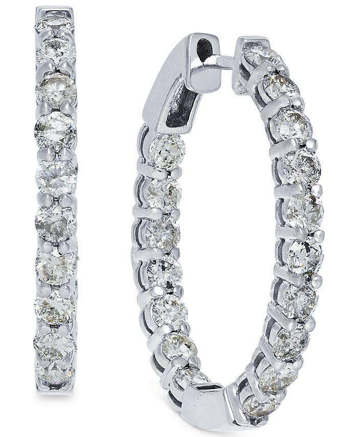 Macy's - Diamond Hoop Earrings in 14k White Gold (4 ct. t.w.)