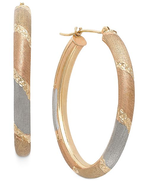 Italian Gold Tri-Tone Satin and Diamond Cut Oval Hoops in 14K Gold