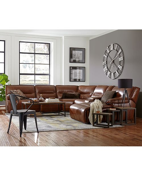 CLOSEOUT! Beckett 6-pc Leather Sectional Sofa with Chaise, Console and 2  Power Recliners, Created for Macy\'s