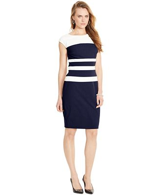 Lauren Ralph Lauren Sleeveless Striped Sheath Dress - Dresses ...