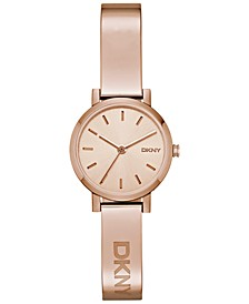 Women's Soho Rose Gold-Tone Stainless Steel Half-Bangle Bracelet Watch 24mm NY2308