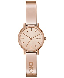 DKNY Women's Soho Rose Gold-Tone Stainless Steel Half-Bangle Bracelet Watch 24mm NY2308
