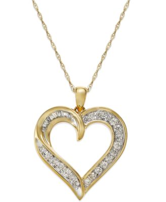 Macys diamond heart pendant necklace in 14k gold 14 ct tw macys diamond heart pendant necklace in 14k gold 14 ct tw necklaces jewelry watches macys aloadofball Choice Image