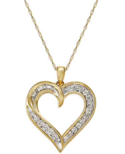 Diamond heart pendant necklace in 14k gold 14 ct tw diamond heart pendant necklace in 14k gold 14 ct tw mozeypictures Gallery