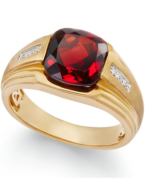 Macy's Men's Garnet (5 ct. t.w.) and Diamond Accent Ring in 10k Gold