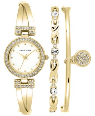 Image of Anne Klein Women's Gold-Tone Bracelet Watch Set 24mm AK/1868GBST