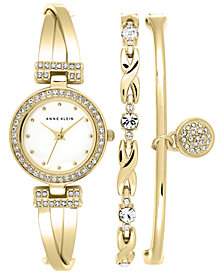 Anne Klein Women's Gold-Tone Bracelet Watch Set 24mm AK/1868GBST