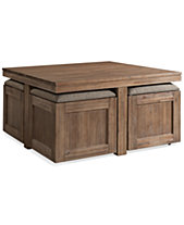 Champagne Cube Coffee Table With 4 Storage Ottomans Created For Macy S