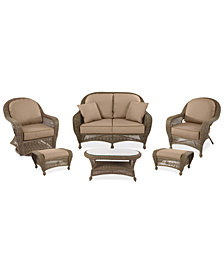 Sandy Cove Outdoor Wicker 6-Pc. Seating Set (1 Loveseat, 1 Club Chair, 1 Swivel Glider, 2 Ottomans and 1 Coffee Table) Custom Sunbrella®, Created for Macy's