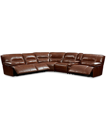 Beckett Leather 6 Piece Sectional Sofa With 3 Power