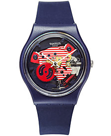 Swatch Unisex Swiss Porticciolo Blue Silicone Strap Watch 34mm GN239