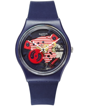 Swatch Unisex Swiss Porticciolo Blue Silicone Strap Watch 34