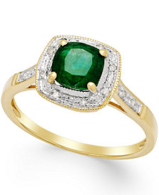 Emerald (3/4 ct. t.w.) and Diamond Accent Ring in 14k Gold
