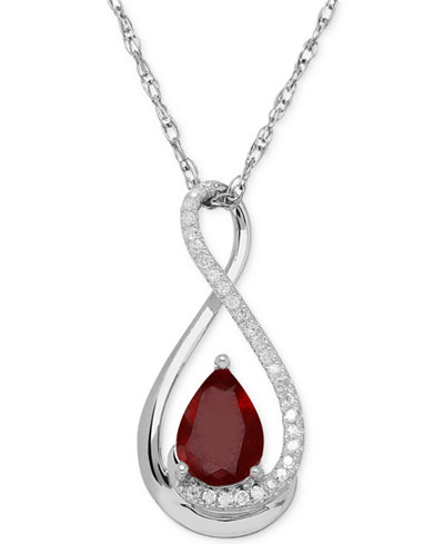 Ruby (7/8 ct. t.w.) and Diamond Accent Infinity Pendant Necklace in Sterling Silver (also in Emerald)