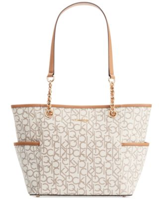 Calvin Klein Hayden Signature Chain Tote Handbags Accessories