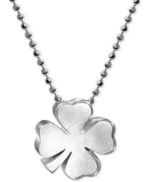 ALEX WOO Little Faith Clover Pendant Necklace In Sterling Silver