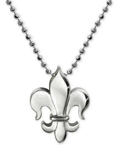 Alex Woo Little Faith Fleur De Lis Pendant Necklace in Sterling Silver