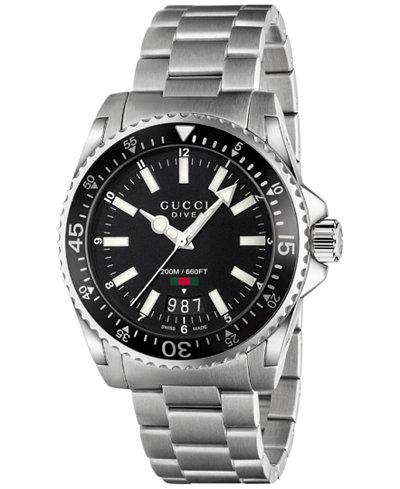 Gucci Unisex Swiss Dive Stainless Steel Bracelet Watch 40mm YA136301