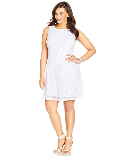 Lace A Line Size Connected Plus Dress White wPqBnzFx