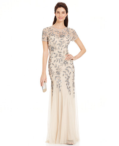 Adrianna Papell Floral-Beaded Mermaid Gown - Dresses - Women - Macy\'s