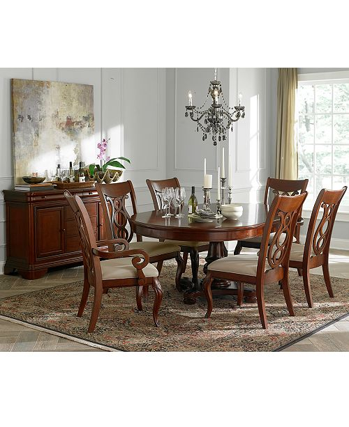 Closeout Bordeaux Pedestal Round 7 Pc Dining Room Set Table 6 Side Chairs