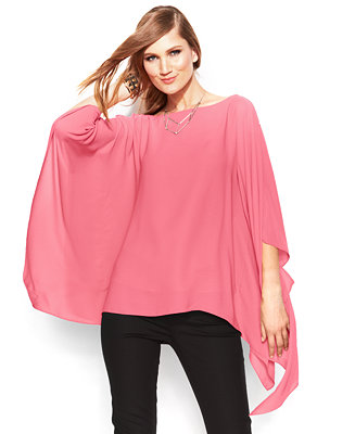 Vince Camuto Butterfly Sleeve Chiffon Poncho Tops