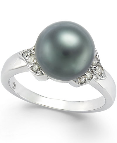 Tahitian Pearl (9mm) and Diamond Ring (1/6 ct. t.w.) in 14k White Gold