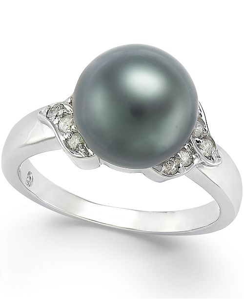 Macy's Tahitian Pearl (9mm) and Diamond Ring (1/6 ct. t.w.) in 14k White Gold
