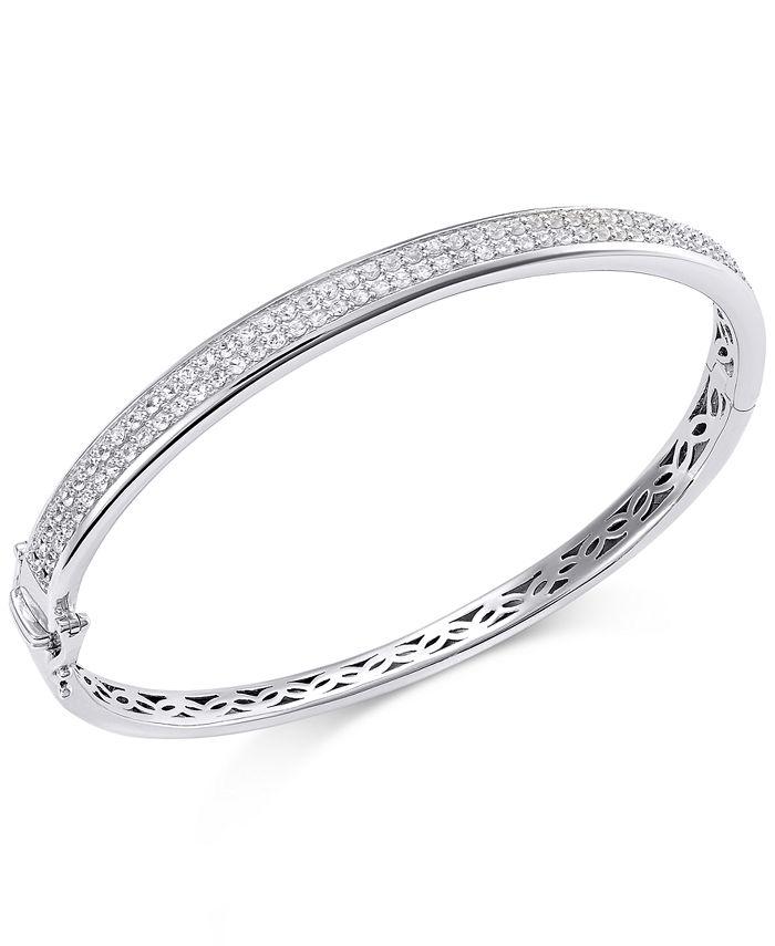 Macy's - White Sapphire Bangle Bracelet in Sterling Silver (2 ct. t.w.)
