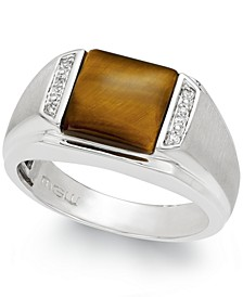 Men's Tiger's Eye (2-2/3 ct. t.w.) and Diamond Accent Ring in Sterling Silver