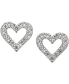 Diamond Heart Stud Earrings in Sterling Silver (1/10 ct. t.w.)