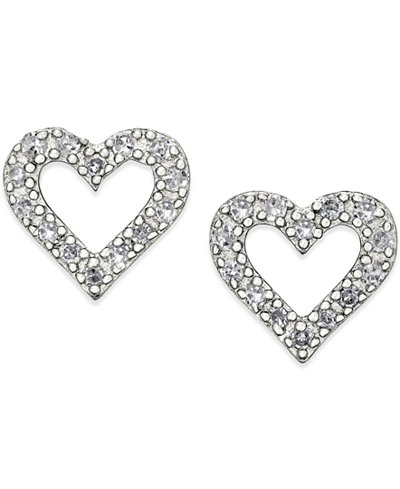 Diamond Heart Stud Earrings in Sterling Silver (1/10 ct. t.w.)