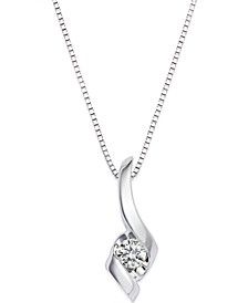 Sirena Diamond Swirl Pendant Necklace in 14k White Gold (1/10 ct. t.w.)