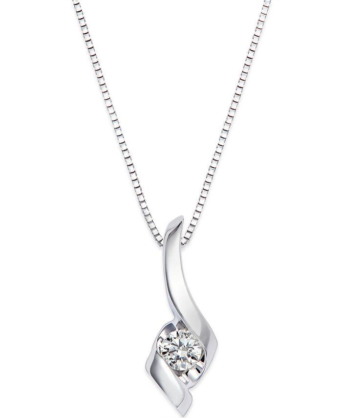 Macy's - Diamond Swirl Pendant Necklace in 14k White Gold (1/10 ct. t.w.)