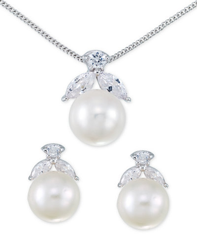 Cultured Freshwater Pearl (10mm) and Crystal Jewelry Set in Sterling Silver