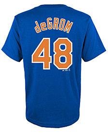 Majestic Jacob deGrom New York Mets Player T-Shirt, Big Boys (8-20)