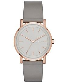Women's Soho Gray Leather Strap Watch 34mm, Created for Macy's