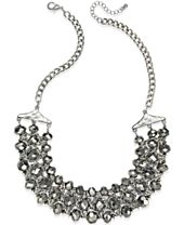 INC International Concepts Silver-Tone Beaded Chain Necklace