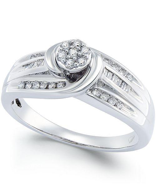 Macy's Diamond Swirl Promise Ring (1/4 ct. t.w.) in Sterling Silver