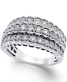 Multi-Row Diamond Ring in Sterling Silver (1/2 ct. t.w.)