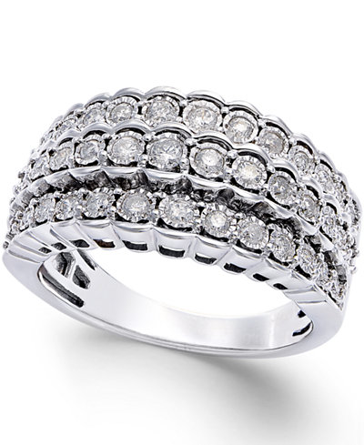 multi row diamond ring in sterling silver 1 2 ct t w. Black Bedroom Furniture Sets. Home Design Ideas