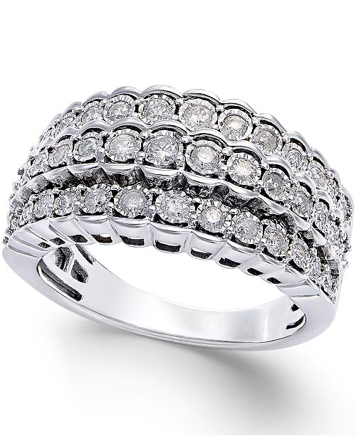 8ad4681d8 Macy's Multi-Row Diamond Ring in Sterling Silver (1/2 ct. t.w. ...
