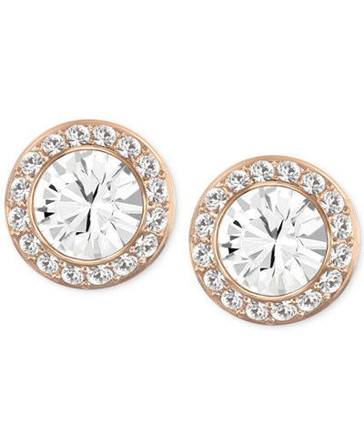 Swarovski Rose Gold-Tone Crystal Round Button Earrings
