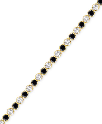 Sapphire (3-1/6 ct. t.w.) and White Topaz (2-1/5 ct. t.w.) Bracelet in 18k Gold over Sterling Silver