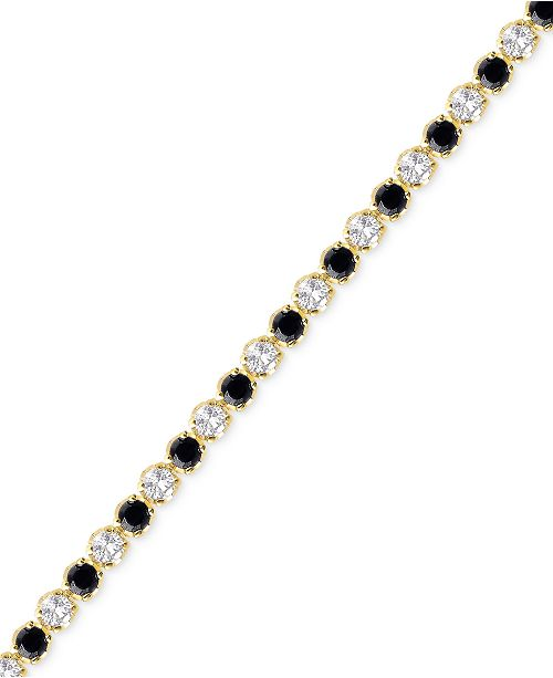 Victoria Townsend Sapphire (3-1/6 ct. t.w.) and White Topaz (2-1/5 ct. t.w.) Bracelet in 18k Gold over Sterling Silver