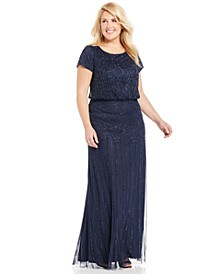 Plus Size Bead-Illusion Blouson Dress