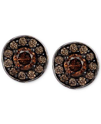 Le Vian Chocolatier Chocolate Diamond Stud Earrings In 14k White Gold 3 4